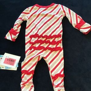 NWT Kickee Pants holiday newborn ruffle footie
